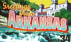 Arkansas Greeting: The Buffalo River and Gunner Pool, both in Ozark National Forest, are seen in the foreground. Overlooking the scene at the rear, flanked by trees, is the Ozark Baths building on Bath House Row in Hot Springs National Park.