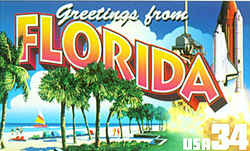 Florida Greeting: At the left is a beach and palm trees in St. Petersburg, with a colorful sail visible on the water in the distance. At the right, the space shuttle Discovery lifts off its launching pad at Cape Canaveral.