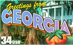 Georgia Greeting: The portico of an unnamed antebellum plantation occupies the right rear of the montage, with Spanish moss hanging overhead and the trunks of bald cypress trees from the Okefenokee Swamp in the left foreground. Two peaches, the Georgia state fruit, are at the lower right.