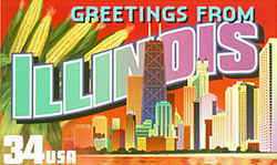 "Illinois Greeting: llinois' division between ""upstate"" and ""downstate"" is represented by Chicago's skyline at the lower right, with the Sears Tower, the nation's tallest skyscraper, readily recognizable, and ears of golden corn representing the state's rich agricultural economy at the upper left."