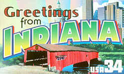 Indiana Greeting: The Hoosier State's own contrast between urban and rural areas is depicted by views of the skyline of the capital, Indianapolis, and of a covered bridge in Parke County in west central Indiana.