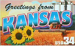 Kansas Greeting: Farming also is the theme of the Kansas montage, which depicts a combine harvester working in a wheat field and a grain elevator in Danville. Sunflowers, the state flower, are seen in the foreground.