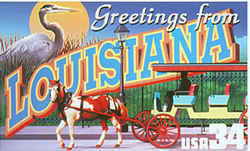 Louisiana Greeting: A horse draws a tourist carriage past an iron fence, a scene evocative of New Orleans' French Quarter. A great blue heron, a common bird in Louisiana, is seen against an orange moon.
