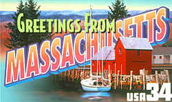 Massachusetts Greeting: This montage blends scenes from eastern and western Massachusetts into an almost seamless whole: the harbor at Rockport on Cape Ann and the ridges of Mount Greylock in the Berkshire Hills.
