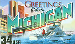 Michigan Greeting: Buildings and the people-mover monorail of the Renaissance Center in downtown Detroit are combined in the design with a sport-fishing boat of a kind seen on the Great Lakes.