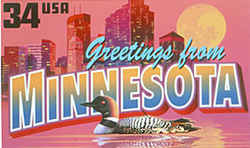 Minnesota Greeting: The skyline of Minneapolis is seen against a red, almost mauve, sky and a large orange moon. In the foreground is a common loon, the state bird.