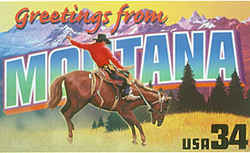 Montana Greeting:  In the foreground is a cowboy riding a bucking horse at a Montana rodeo. At the rear is a vista of the Rocky Mountains in Glacier National Park.