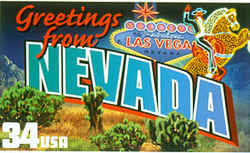 Nevada Greeting: The contrast between Nevada's natural landscape and the glittering urban playground superimposed upon it is the theme of this design, which combines images of desert plants and hills with the well-known neon horse and rider sign in Las Vegas.