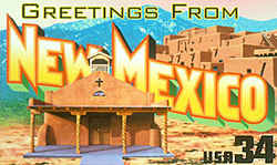 New Mexico Greeting: The design depicts a church in Santa Fe and the Taos Pueblo north of the city of Taos.