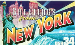 New York Greeting: This montage depicts three of the state's best-known attractions: the Manhattan skyline, the Statue of Liberty and Niagara Falls.