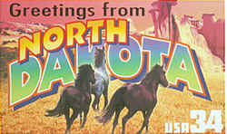 North Dakota Greeting: Two photographs taken in Theodore Roosevelt National Park were the basis for this montage, which comprises three galloping wild horses and badlands hills and rock formations.