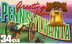Pennsylvania Greeting: wo reminders of Pennsylvania's major role in American history are the Liberty Bell and a cannon on the Civil War battlefield at Gettysburg, both pictured in this stamp design. On the horizon are the Pocono Mountains, a popular resort area in the state's northeast.