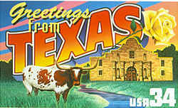 Texas Greeting: depicting the Alamo in San Antonio and a yellow rose, the state flower. Rather than duplicate the saguaro cactus plants on the Arizona stamp, however, Busch replaced the cacti in his original version with a Texas longhorn.