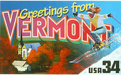 Vermont Greeting: features the second skier to appear on a Greetings from America stamp, this one a female (a male skier is shown on the Colorado stamp). Behind the snowy slope which she is descending is an aerial view of a white church building surrounded by fall foliage.