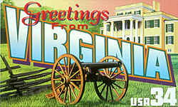 Virginia Greeting: A cannon on display in the state capital, Richmond, is shown in a field with a rail fence of a kind often seen in the Virginia countryside. At the rear is the Oatlands Plantation, a National Trust for Historic Preservation property outside Leesburg, Virginia.