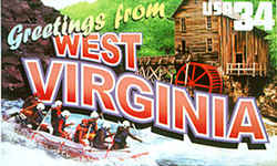 West Virginia Greeting: This design consists of views of white-water rafters on a West Virginia river and a vintage grist mill on Glade Creek.