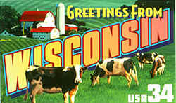 Wisconsin Greeting:  include a group of dairy cows, and in the background is a country scene with farm buildings.
