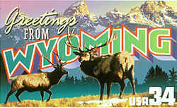 Wyoming Greeting: Wyoming's rugged Grand Teton mountains provide the backdrop in this montage, which also includes two elk, a species commonly seen in Grand Teton National Park.