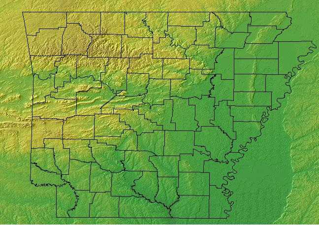 Ark Elevation Map.Arkansas Geography Arkansas Regions And Landforms