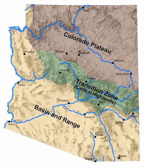 Arizona Geography Arizona Regions And Landforms