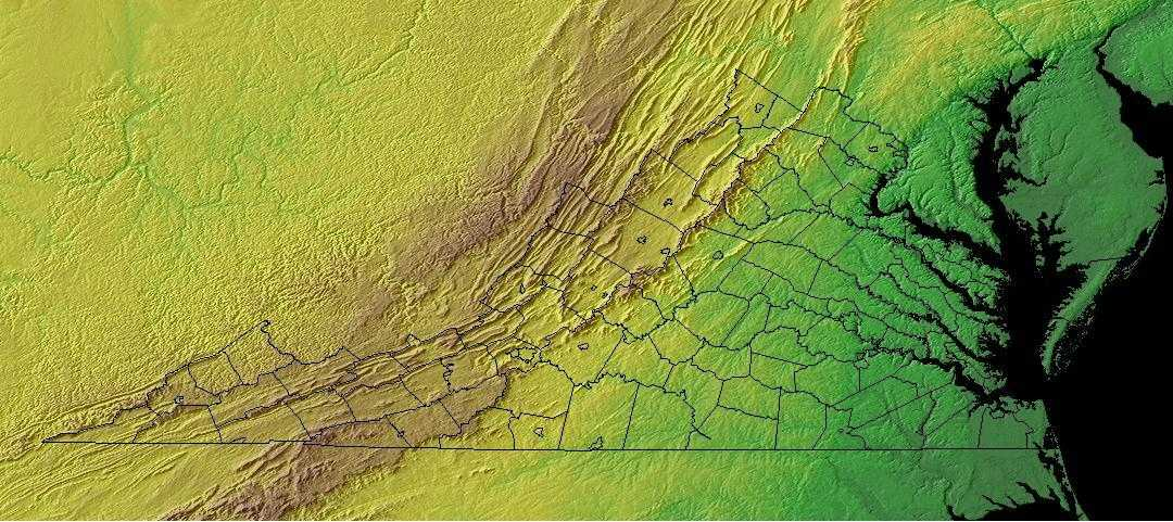 Virginia Geography Virginia Regions And Landforms - Physical map of virginia